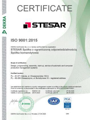 Stesar ISO 9001-2015 Certificate